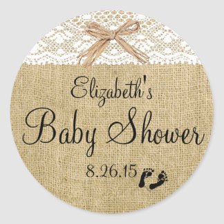 White Lace and Burlap Baby Shower Favor Classic Round Sticker