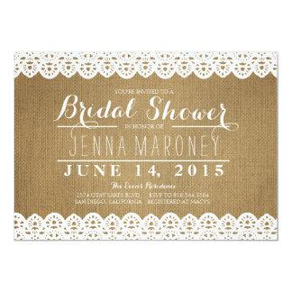 White Lace and Burlap Bridal Shower Invitation