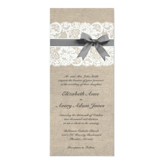 White Lace and Burlap Wedding Invitation Vertical