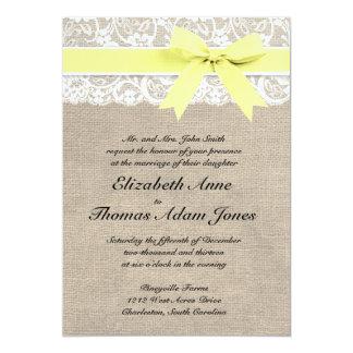 White Lace and Burlap Wedding Invitation- Yellow