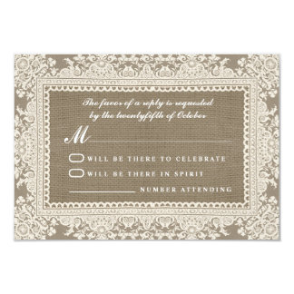 White lace and burlap wedding RSVP cards