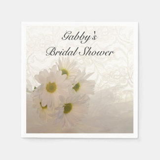 White Lace and Daisies Bridal Shower Paper Napkin