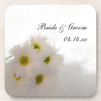 White Lace and Daisies Wedding Drink Coaster