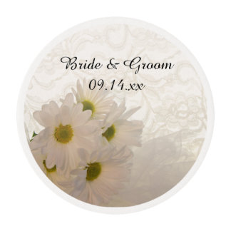 White Lace and Daisies Wedding Edible Frosting Rounds