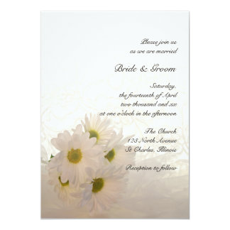 White Lace And Daisies Wedding Invitation
