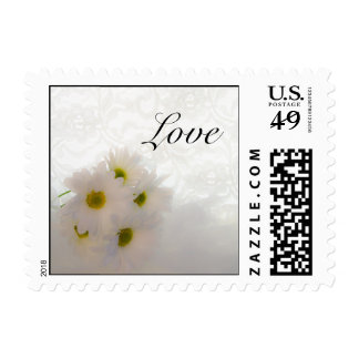 White Lace and Daisies Wedding Love Stamp