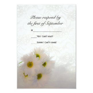 White Lace and Daisies Wedding RSVP 3.5x5 Paper Invitation Card