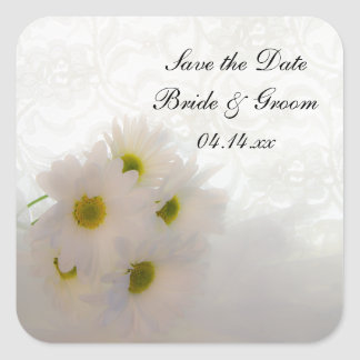 White Lace and Daisies Wedding Save the Date Square Sticker