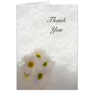 White Lace and Daisies Wedding Thank You Card