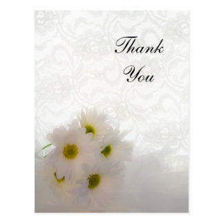 White Lace and Daisies Wedding Thank You Note Postcard