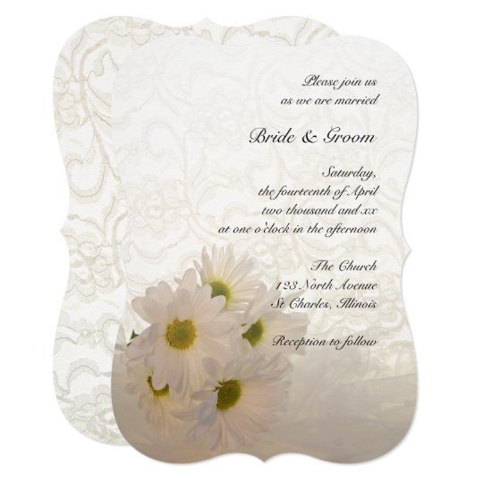 White Daisy Wedding Invitation: White Lace And Daisy Flowers Wedding Invitation