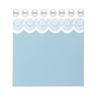 White Lace and Faux Pearls Notepad