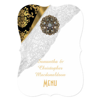 White lace and gold black damask wedding menu card