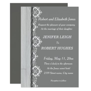 Wedding Themed White lace and grey rustic wooden wedding card