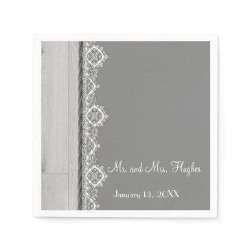 Wedding Themed White lace and grey wedding floral wedding napkin