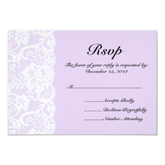 White Lace and Lilac Wedding RSVP Card