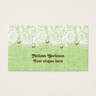 White lace and pearls on green colored burlap business card
