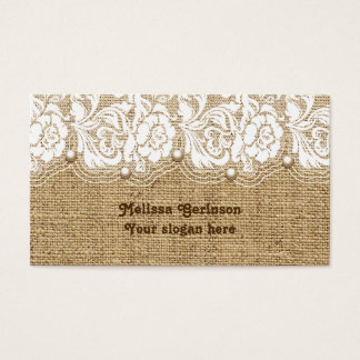 White lace and pearls on linen colored burlap business card