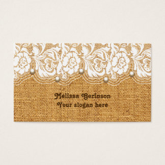 White lace and pearls on orange colored burlap business card