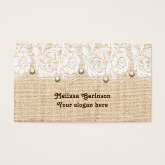 White lace and pearls on peach colored burlap business card