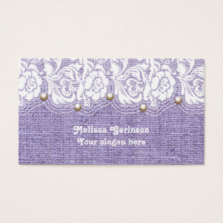 White lace and pearls on purple colored burlap business card