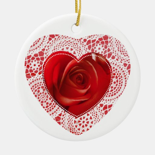 White Lace and Red Heart - round ornament