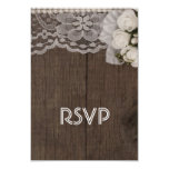 """White Lace and Roses RSVP Card 3.5"""" X 5"""" Invitation Card"""