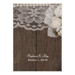 "White Lace and Roses Wedding Invitation 5"" X 7"" Invitation Card"