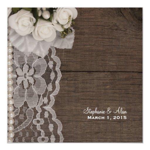 "White Lace and Roses Wedding Invitation 5.25"" Square Invitation Card"
