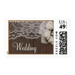 White Lace and Roses Wedding Postage