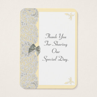 White lace any color wedding thank you tag