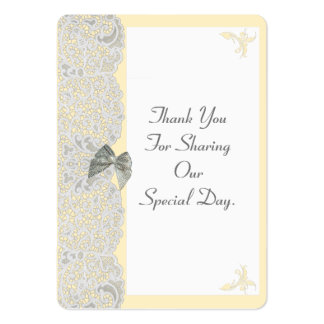 White lace any color wedding thank you tag large business cards (Pack of 100)