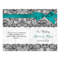 white lace,aqua ribbon book fold Wedding program