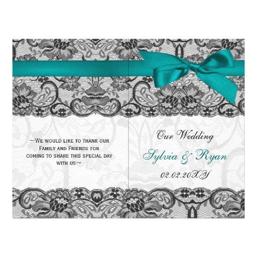 white lace,aqua ribbon book fold Wedding program Flyer Design