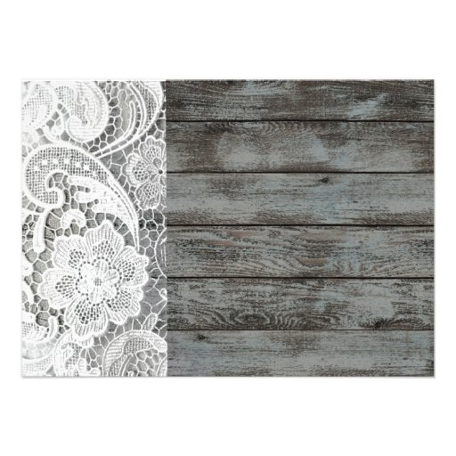 white lace barnwood vintage birthday party custom invites