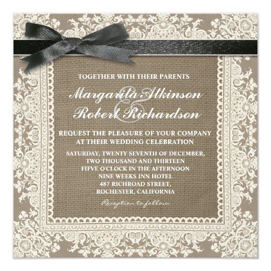White Lace Black Bow U0026 Burlap Wedding Invitations