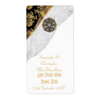 White lace black gold damask wedding wine bottle label