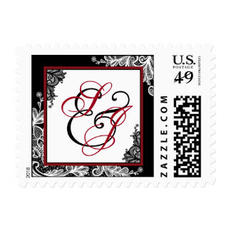 White Lace Black Modern Goth Wedding Monogram Postage