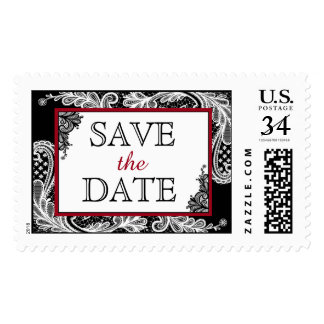 White Lace Black Modern Save the Date Postage
