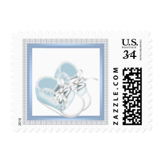 White Lace Blue Baby Shoes Baby Shower Stamps