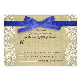 White lace, blue ribbon and burlap wedding RSVP Card