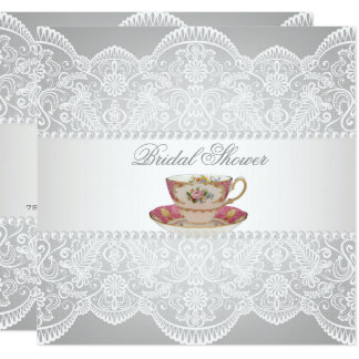 white lace Bridal Shower Tea Party Invitation