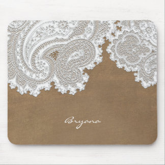 White Lace & Brown Rustic Chic Elegant Country Mouse Pad