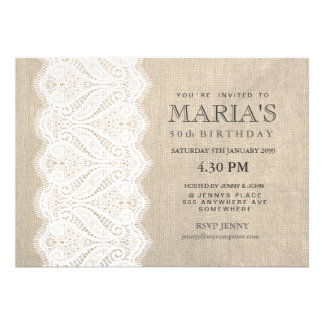 White Lace & Burlap 50th Birthday Party Invite