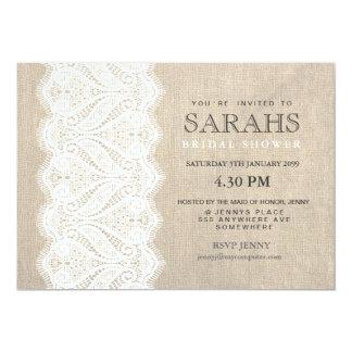 """White Lace & Burlap Bridal Shower Party Invite 5"""" X 7"""" Invitation Card"""