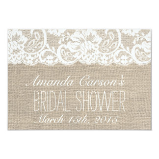 White Lace & Burlap Bridal Shower Receipe Card