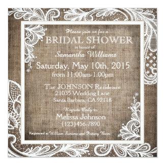 White Lace Burlap Modern Goth Bridal Shower Card