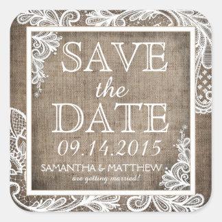 White Lace Burlap Modern Goth Save the Date Label Square Sticker