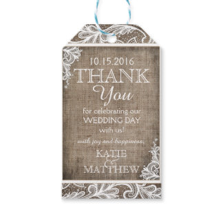 White Lace Burlap Modern Goth Thank You Tag