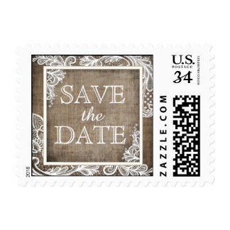 White Lace Burlap Modern Save the Date Postage